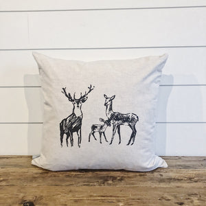 Deer Family Sketch Pillow Cover - Linen and Ivory