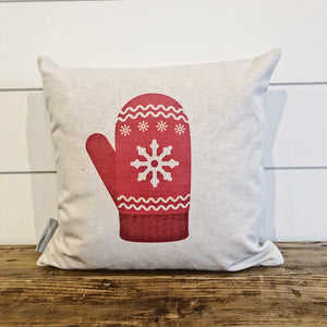 Nordic Christmas Red Mitten Pillow Cover - Linen and Ivory