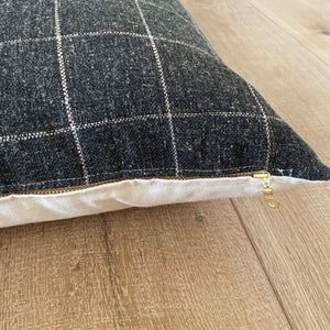 """Brenner"" Felt Plaid PIllow Cover (Charcoal Gray) - Linen and Ivory"