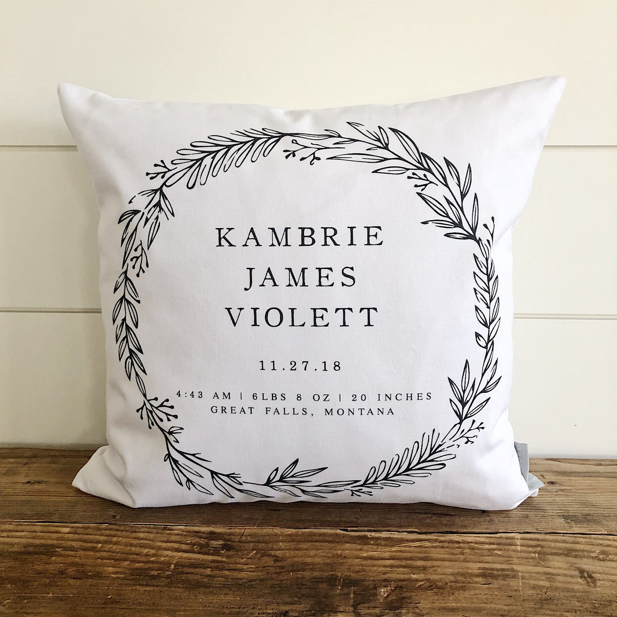 Floral Wreath Birth Announcement Pillow Cover - Linen and Ivory