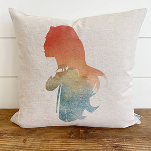 Princess Silhouette Pocahontas Inspired Pillow Cover