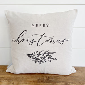 Merry Christmas Calligraphy Pillow Cover - Linen and Ivory
