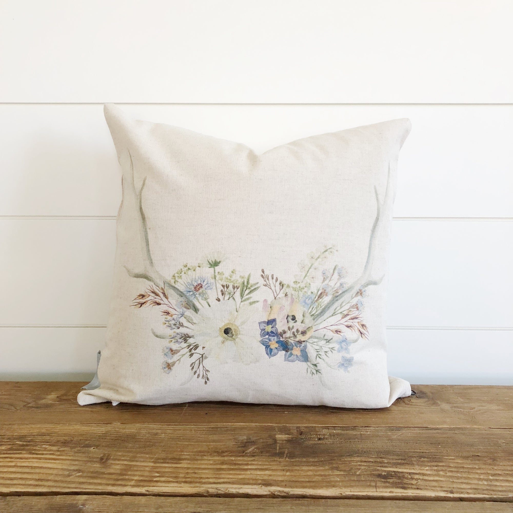 Wildflower Antlers Pillow Cover - Linen and Ivory