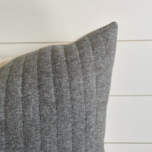 """Xavier"" Striped Felt Pillow Cover (Gray) - Linen and Ivory"