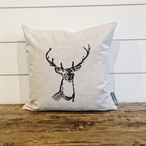 Stag Sketch Pillow Cover - Linen and Ivory