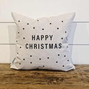 Happy Christmas Swiss Cross Pillow Cover - Linen and Ivory