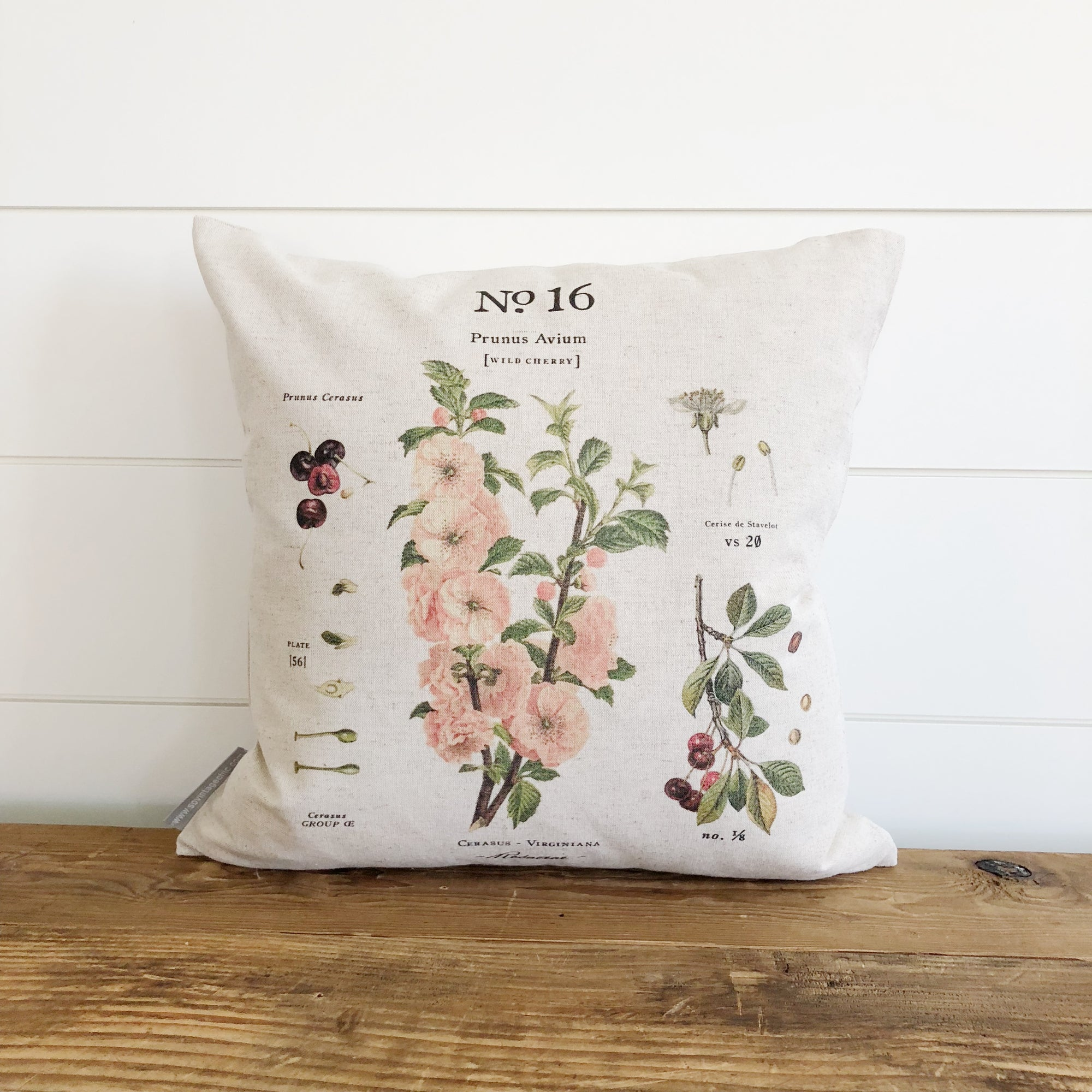 Cherry Blossom Botanical Pillow Cover - Linen and Ivory