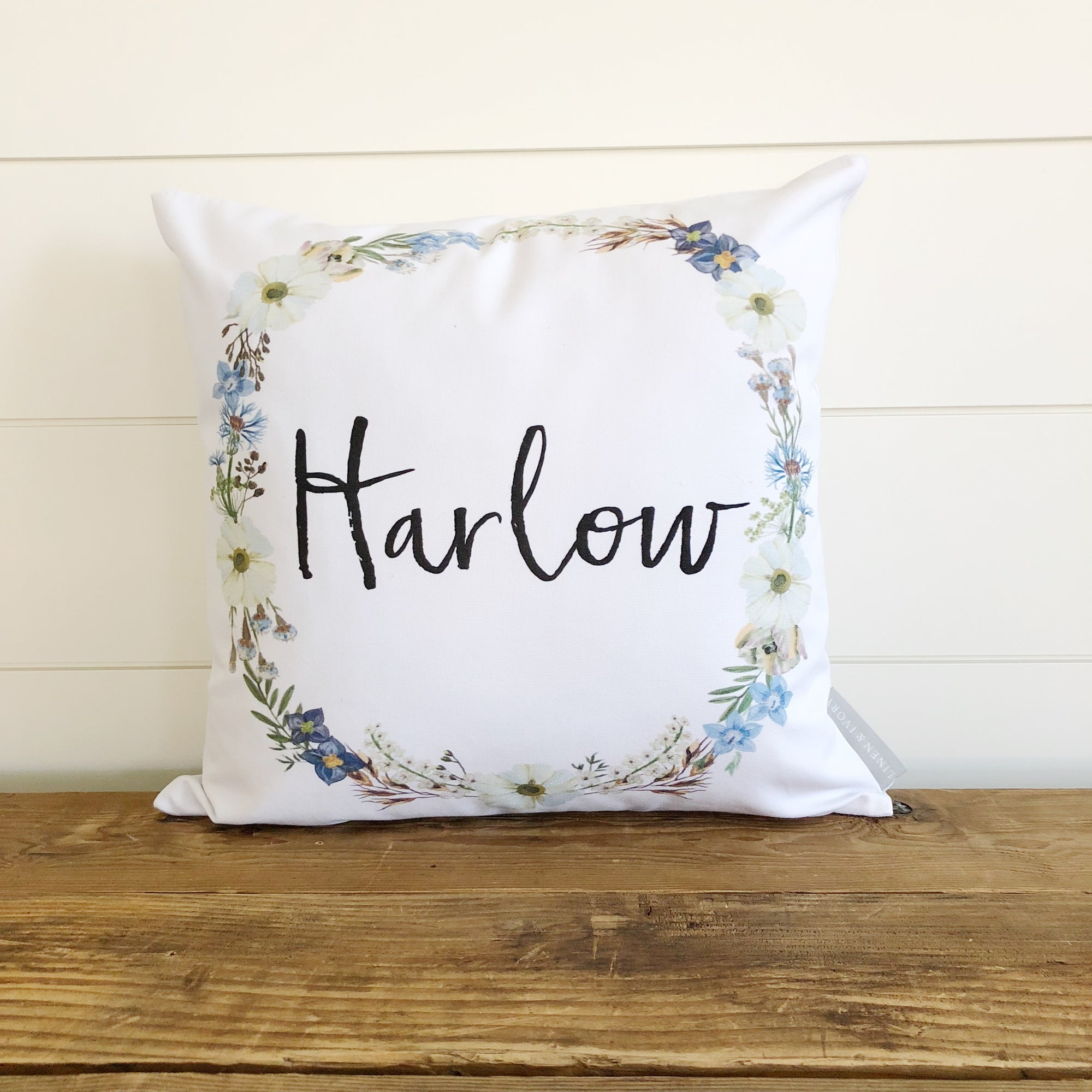 Wildflower Floral Name Wreath Pillow Cover - Linen and Ivory