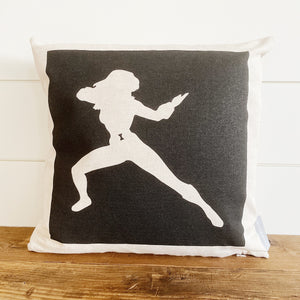 Black Widow Superhero Pillow Cover (Design 3) - Linen and Ivory