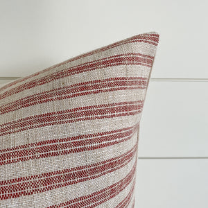 HOLLY || Vintage Red Ticking Pillow Cover