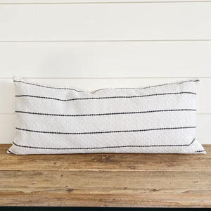 """Holden"" Black Striped Pillow Cover-House on 77th Collection - Linen and Ivory"