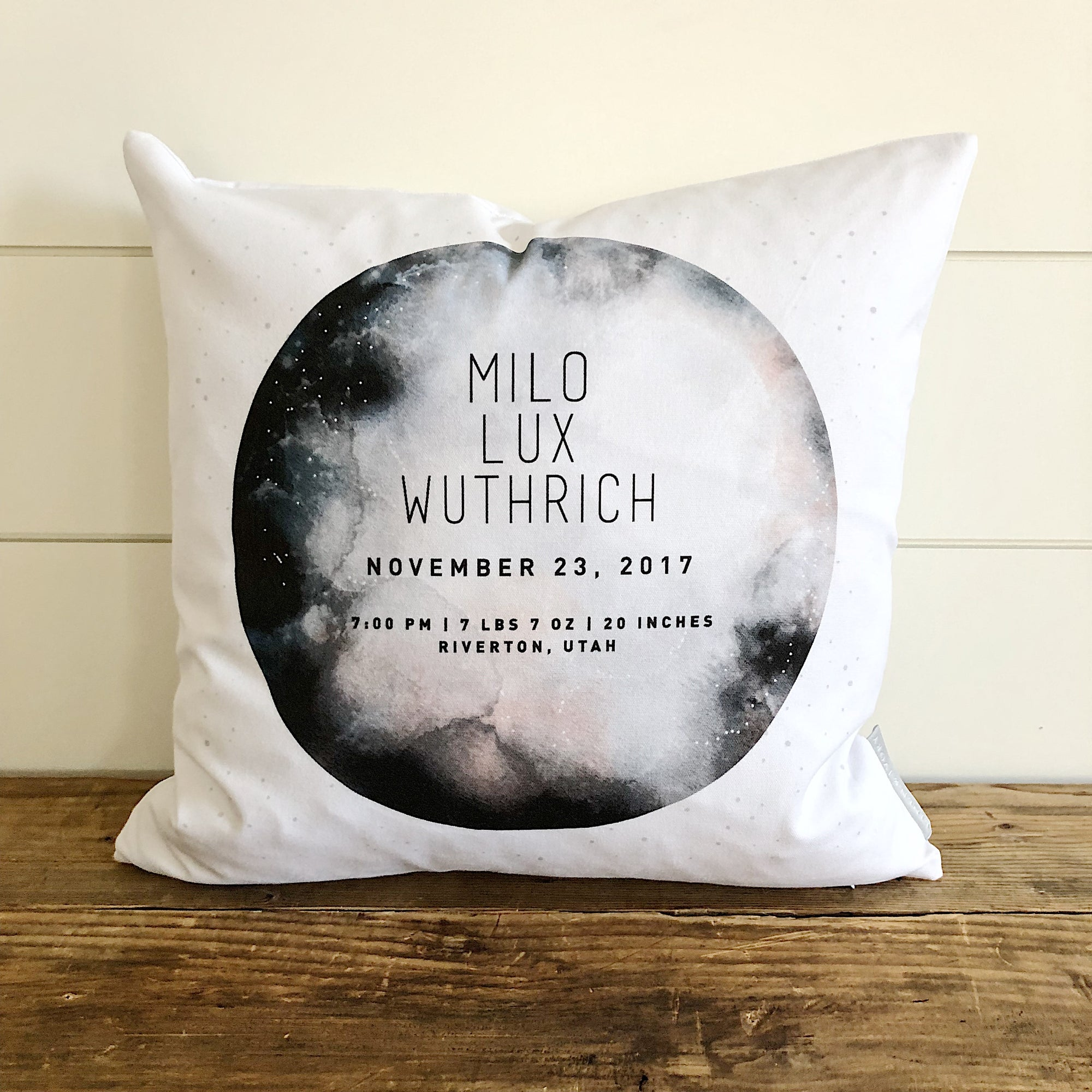 Moon Birth Announcement Pillow Cover - Linen and Ivory