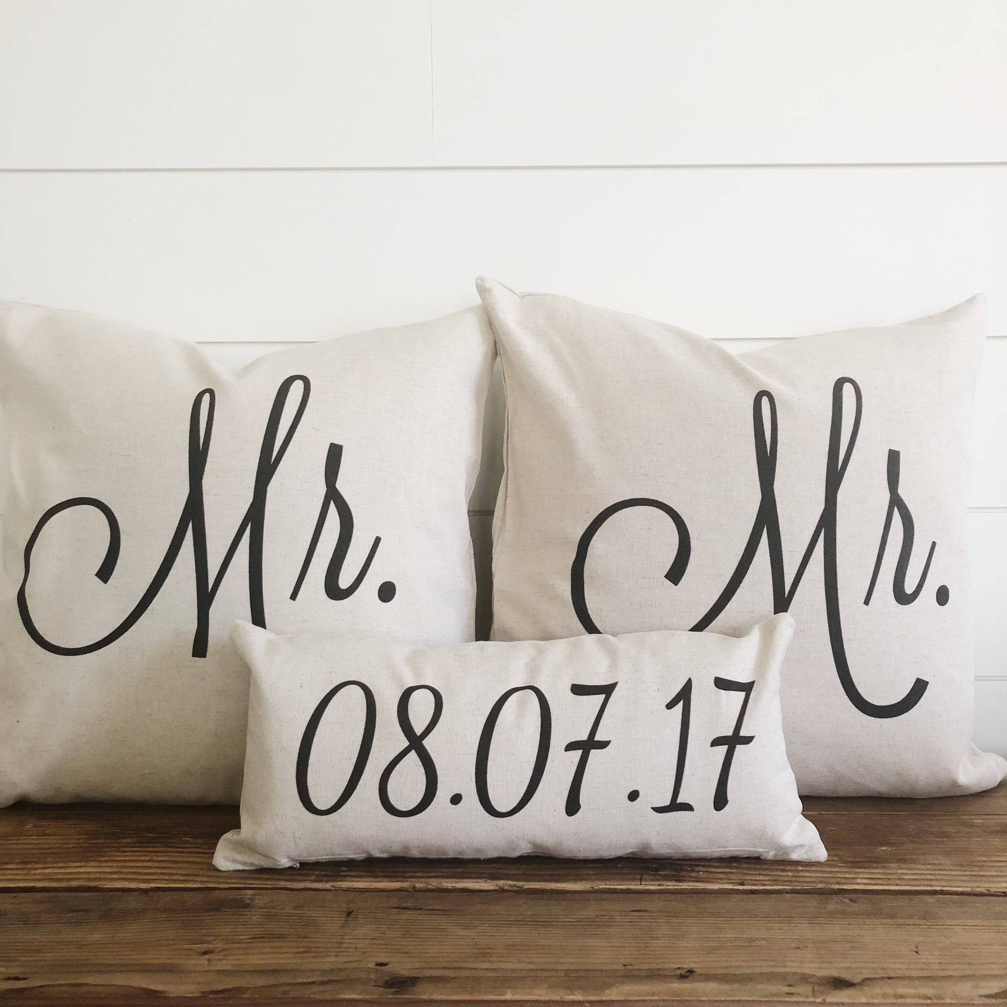 Mr & Mr (SAME SEX) Pillow Covers With Wedding Date (Set of 3) - Linen and Ivory