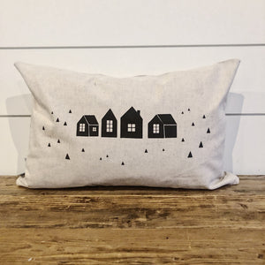 Village Houses Pillow Cover (Black) - Linen and Ivory