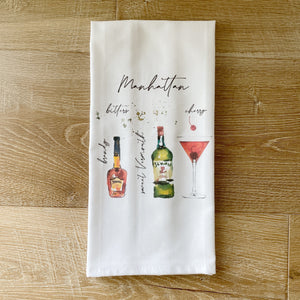Manhattan Watercolor Tea Towel - Linen and Ivory