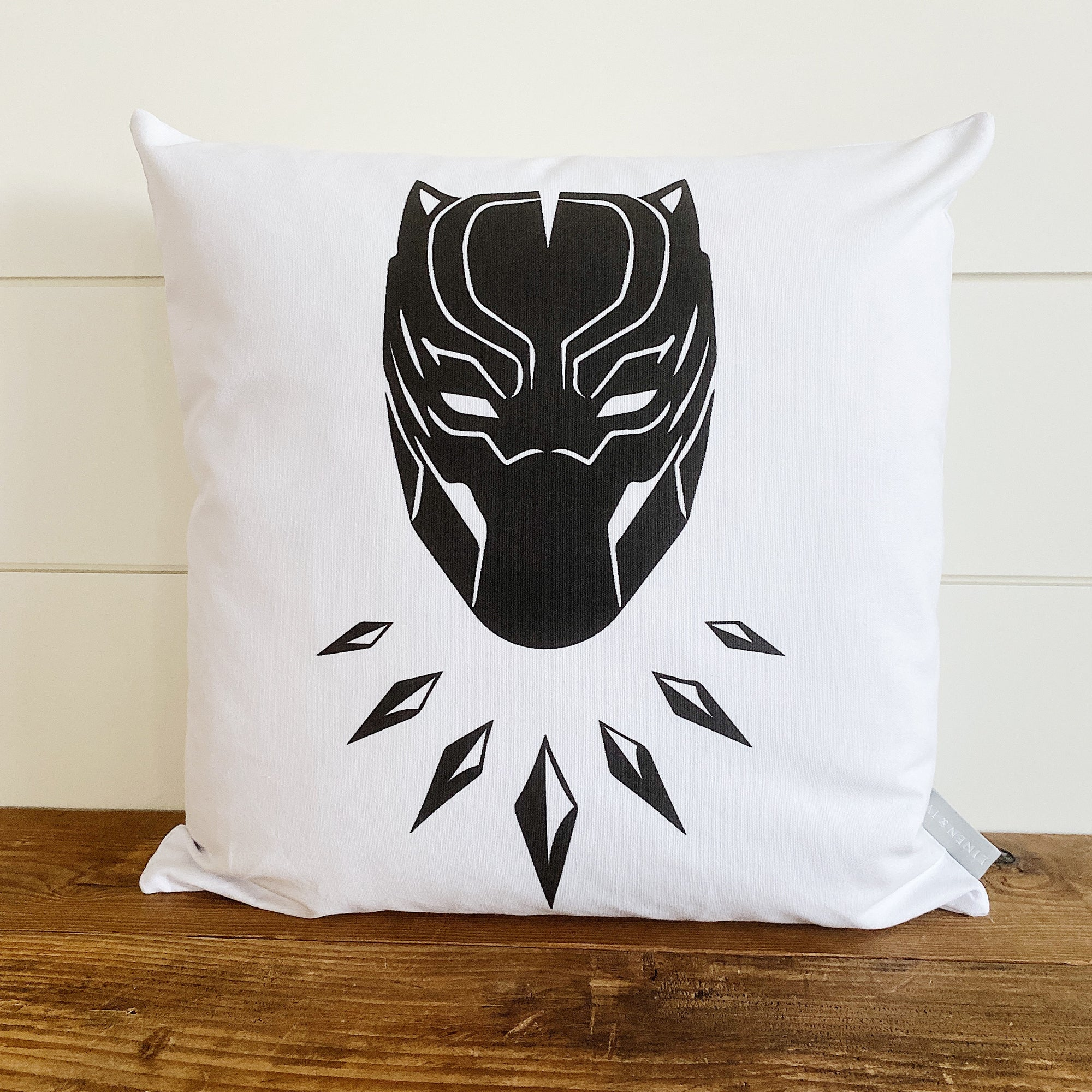 Black Panther Superhero Pillow Cover (Design 2) - Linen and Ivory