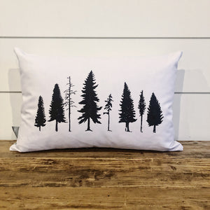Rustic Forest Pillow Cover - Linen and Ivory