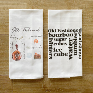 Old Fashioned Watercolor Tea Towel - Linen and Ivory