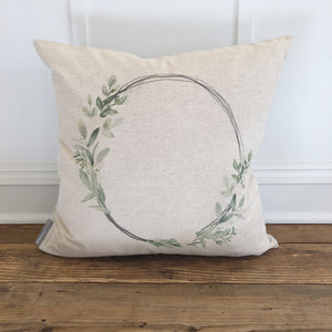 Spring Hoop Pillow Cover - Linen and Ivory