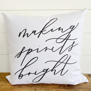 Making Spirits Bright Calligraphy Pillow Cover - Linen and Ivory