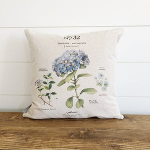 Blue Hydrangea Botanical Pillow Cover - Linen and Ivory