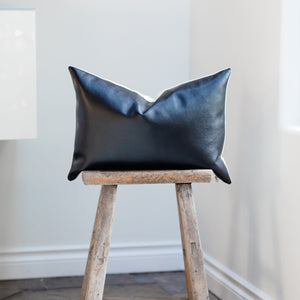 EBONY || Black Faux Leather Pillow Cover