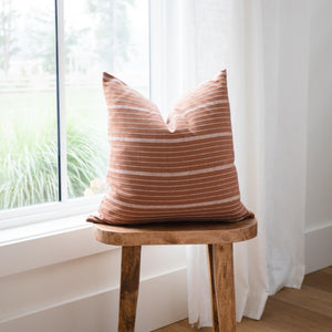 LILA || Rust & White Striped Pillow Cover