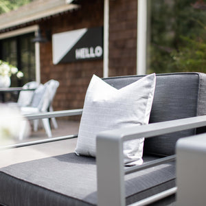CREW || Light Gray & White Striped Indoor/Outdoor Pillow Cover