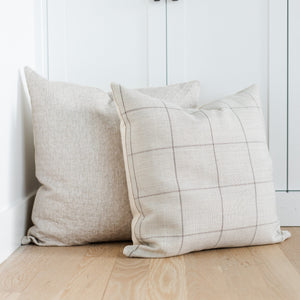 BRODERICK || Khaki Window Pane Pillow Cover