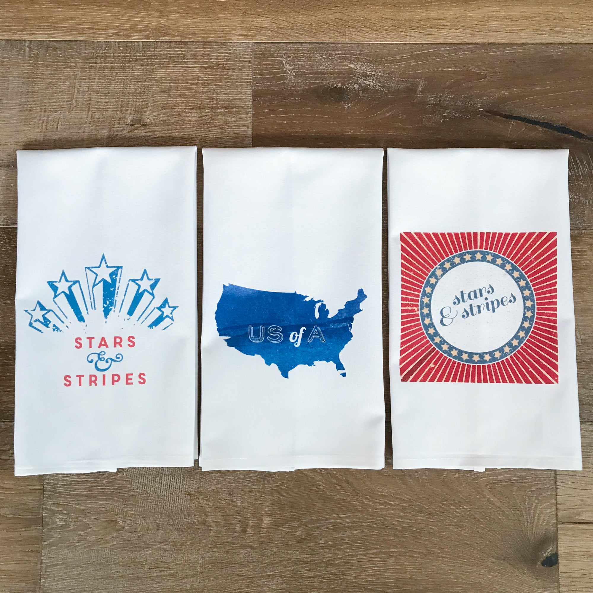 4th of July Tea Towel Set - Linen and Ivory