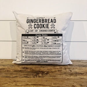 Gingerbread Cookie Recipe Pillow Cover - Linen and Ivory