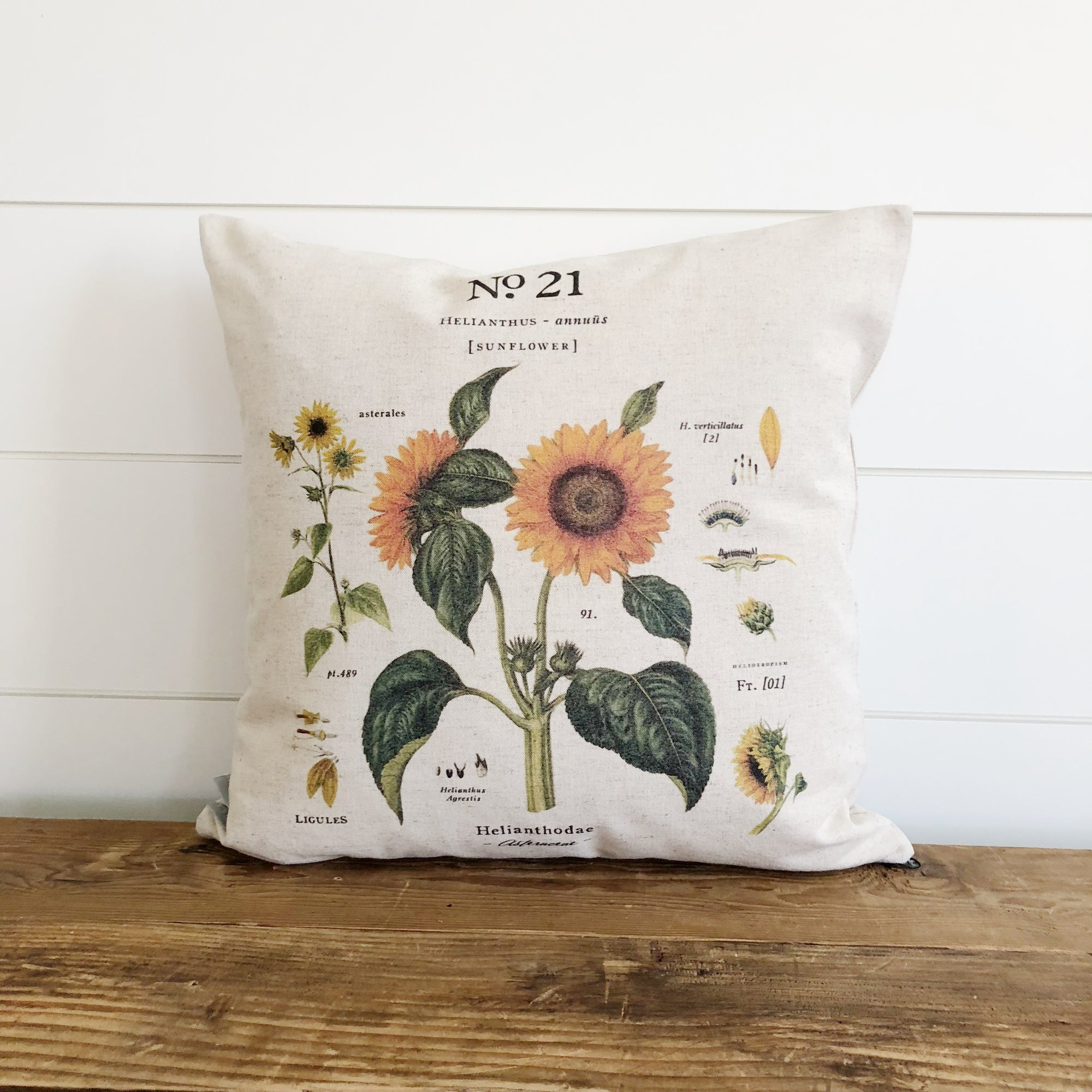 Sunflower Botanical Pillow Cover - Linen and Ivory