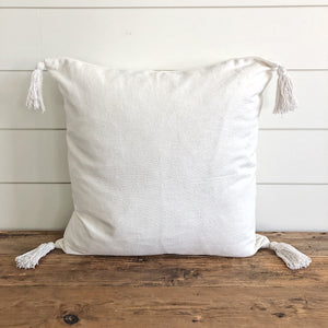"""Reese"" Woven Pillow Cover (Ivory) - Linen and Ivory"