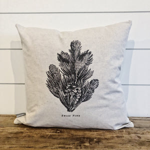 Swiss Pine Sketch Pillow Cover - Linen and Ivory
