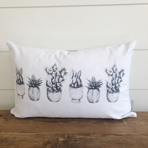Cactus Sketches Pillow Cover - Linen and Ivory