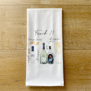 French 75 Watercolor Tea Towel - Linen and Ivory