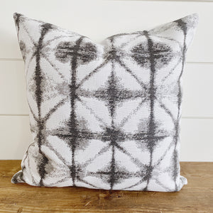 ISABELLA || Gray & White/Ivory Ikat Indoor/Outdoor Pillow Cover