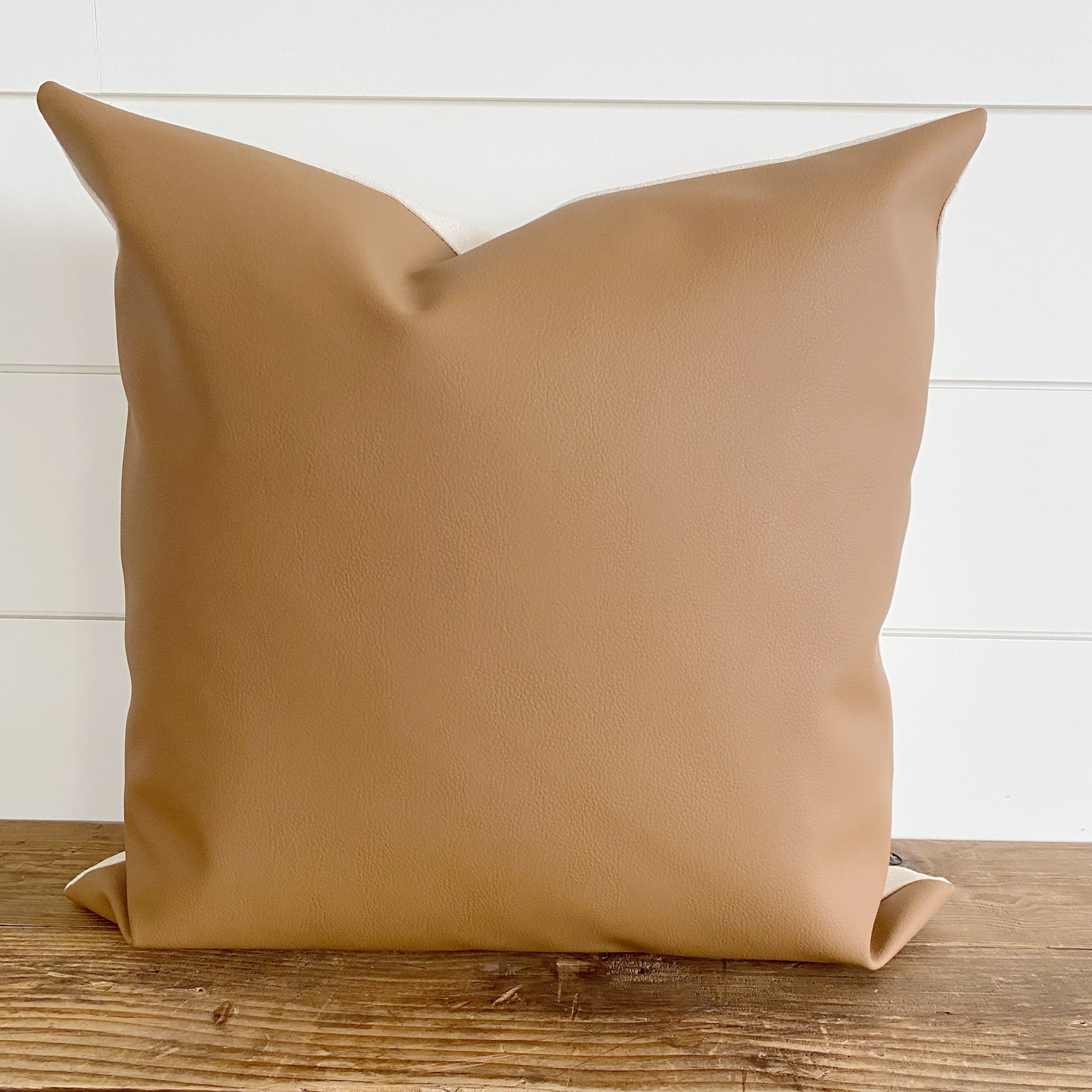 EASTON || Faux Leather Pillow Cover (Camel)