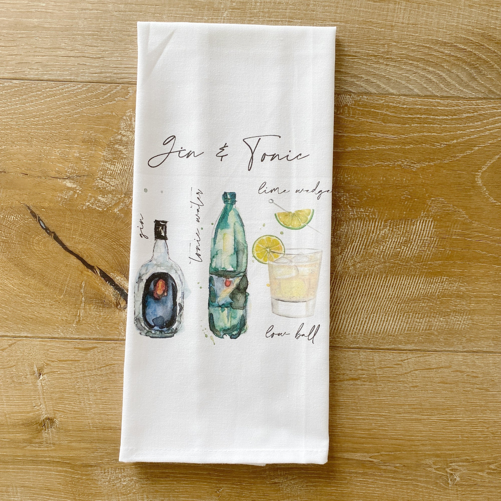 Gin & Tonic Watercolor Tea Towel - Linen and Ivory