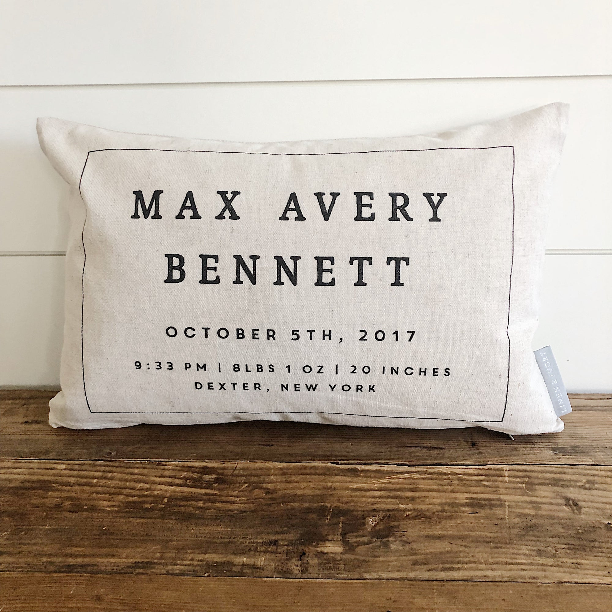 Bold Lumbar Birth Announcement Pillow Cover - Linen and Ivory