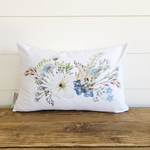 Wildflower Pillow Cover - Linen and Ivory