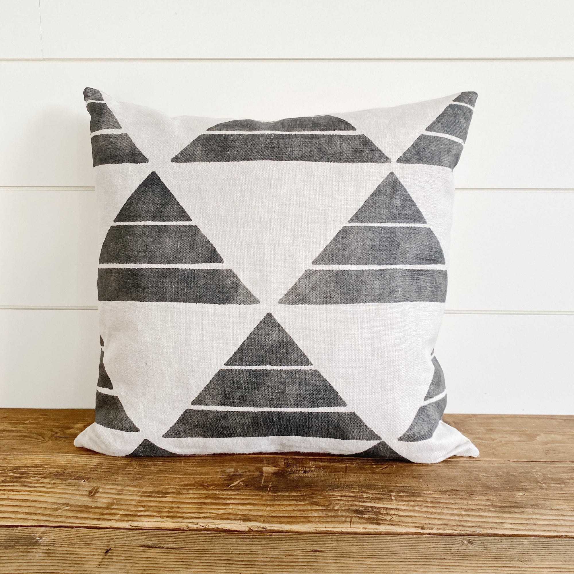 """Pierce"" Geometric Pillow Cover-House on 77th Collection - Linen and Ivory"