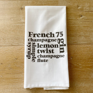 French 75 Cocktail Tea Towel - Linen and Ivory