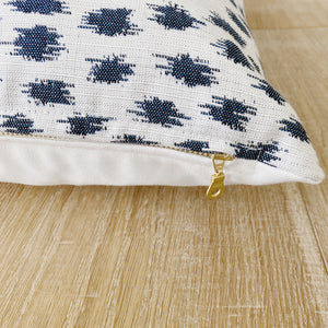 """Emory"" Ivory with Indigo Ikat Indoor/Outdoor Pillow Cover (PRE-ORDER)"