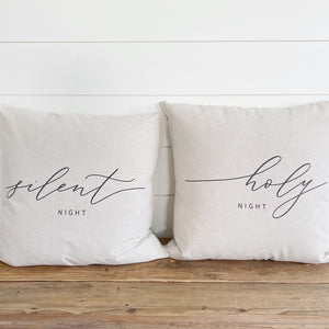 Silent Night Holy Night Pillow Cover (Set of 2) - Linen and Ivory