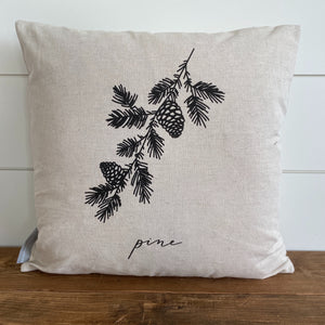 Pine Calligraphy Pillow Cover - Linen and Ivory