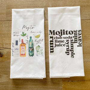 Mojito Watercolor Tea Towel - Linen and Ivory