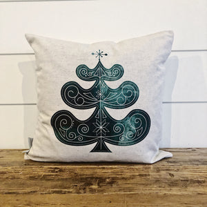 Nordic Christmas Tree Pillow Cover - Linen and Ivory