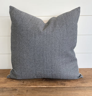 """Maxwell"" Herringbone Pillow Cover (Charcoal Gray) - Linen and Ivory"
