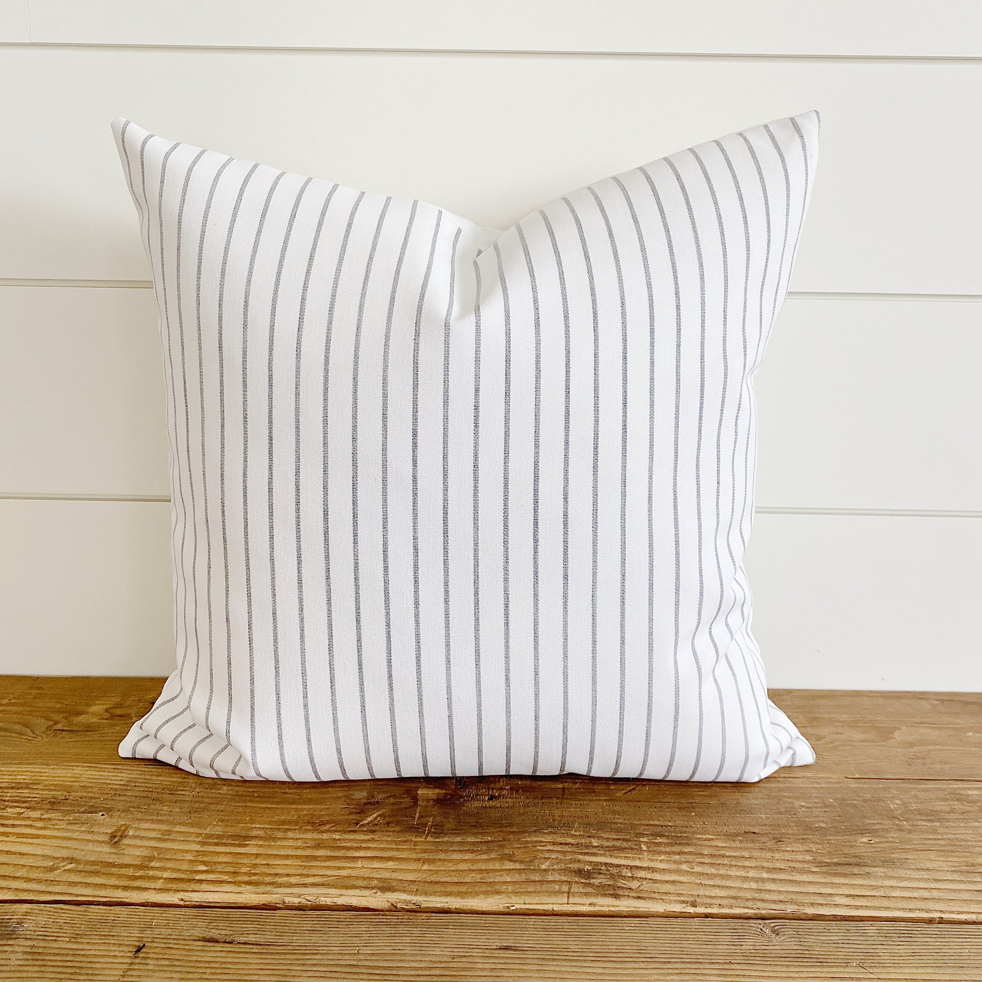 """Lucy"" Gray & Ivory/White Striped Indoor/Outdoor Pillow Cover"